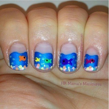 Freshwater acquarium nails nail art by Mama's Manicures (maherwoman)