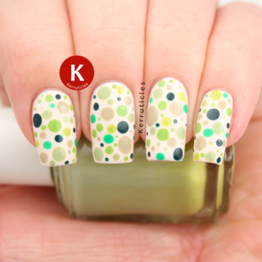 Green dots nail art by Claire Kerr