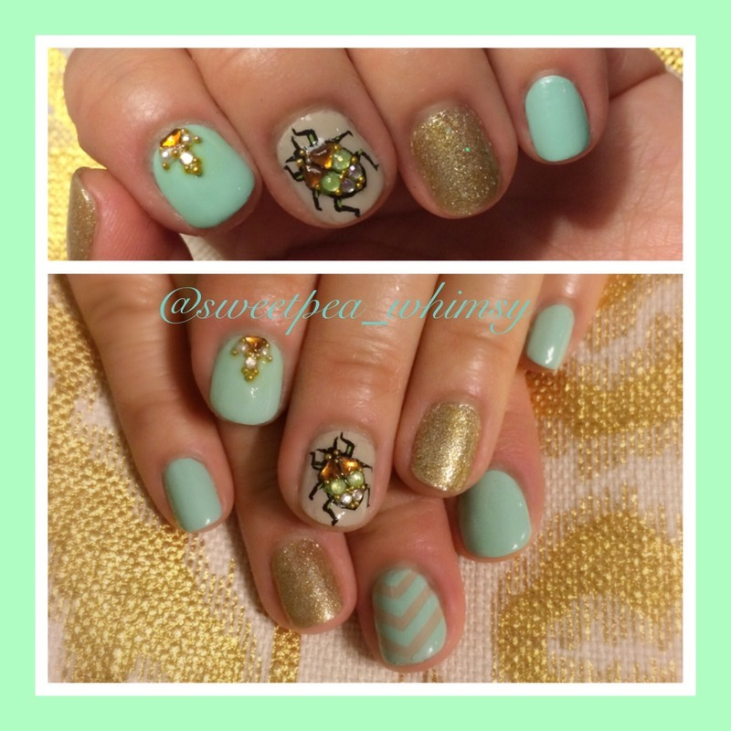 Jeweled Insect & Mint nail art by SweetPea_Whimsy