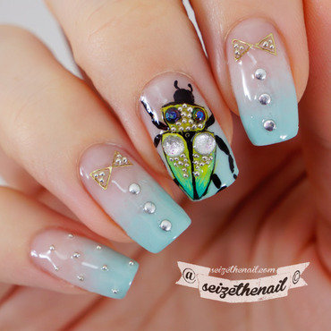 Beetle nail art by Bella Seizethenail