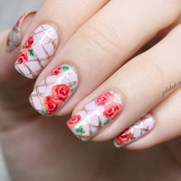 Roses nail art by Jen from polished-with-love