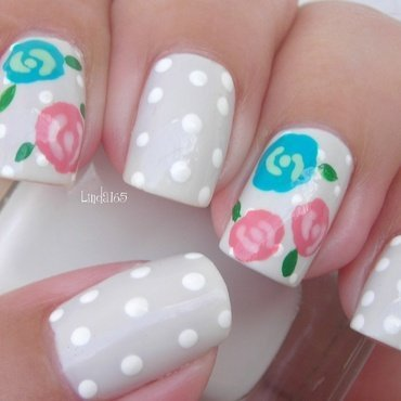 Winter Rose nail art by Iliana S.
