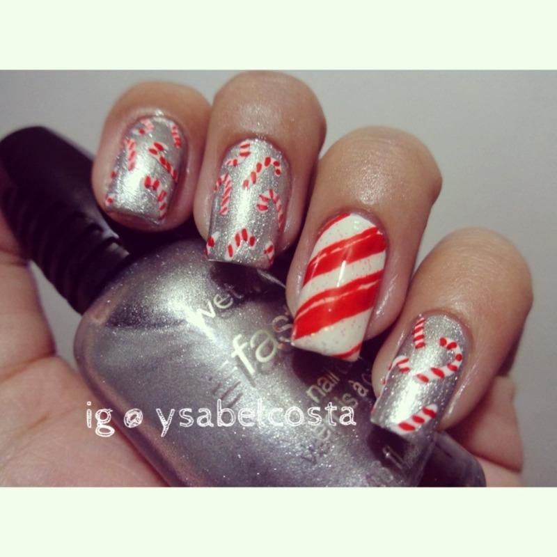 Candy cane nail art by Katrina Ysabel Costa