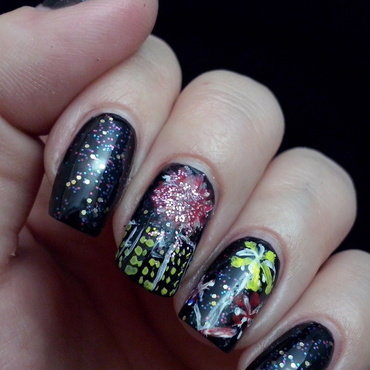 New year's nails nail art by Alice in Wonderland CZ