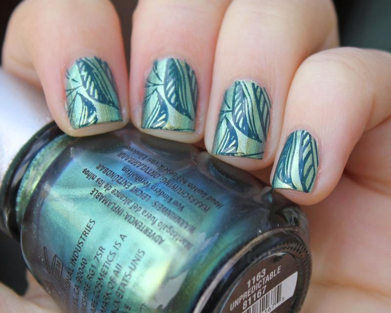 Leaves nail art by Moriesnailart