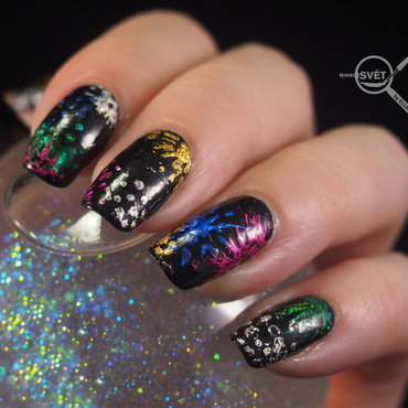 New Year and Firework nail art by Mikrosvět by Ellen