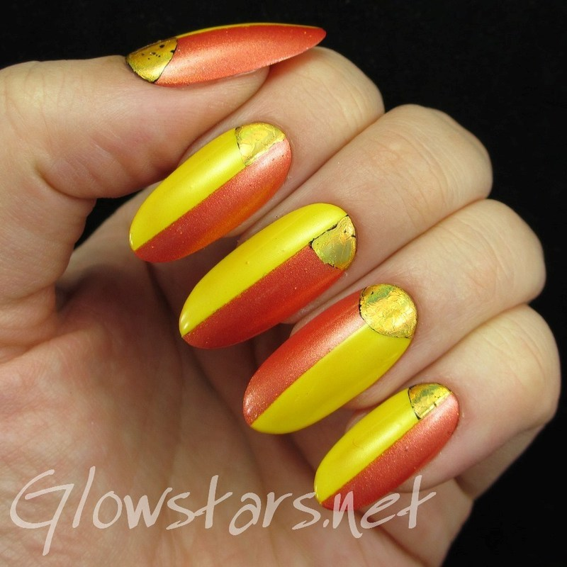 Colour blocking and foil half moons nail art by Vic 'Glowstars' Pires