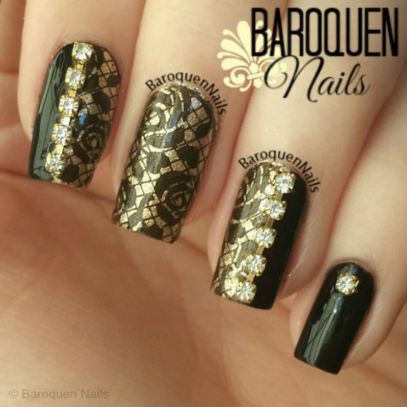 Lace And Diamonds nail art by BaroquenNails
