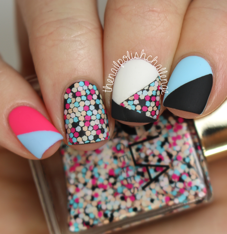 Glitter Placement Color Block Nail Art nail art by Kelli Dobrin