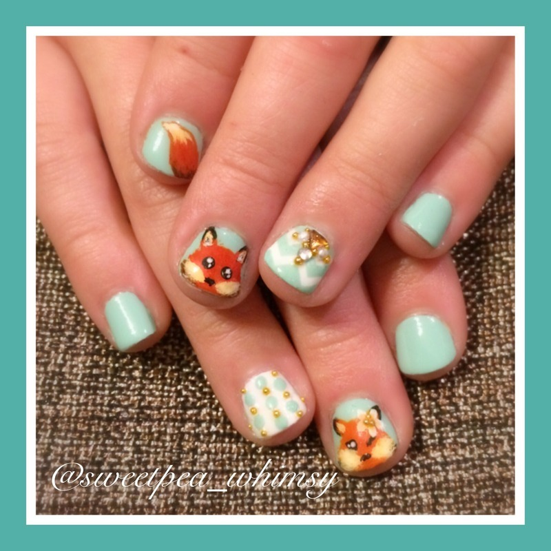 Foxy Frenzy (Kids Nails) nail art by SweetPea_Whimsy