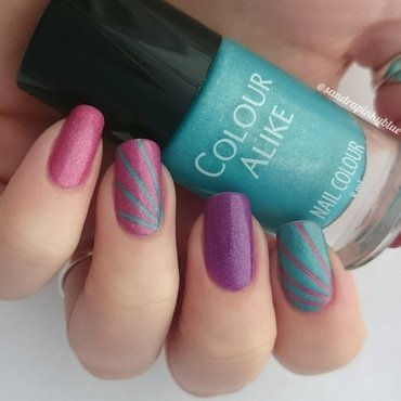 Holo stripes  nail art by Pinkyblue Nailart