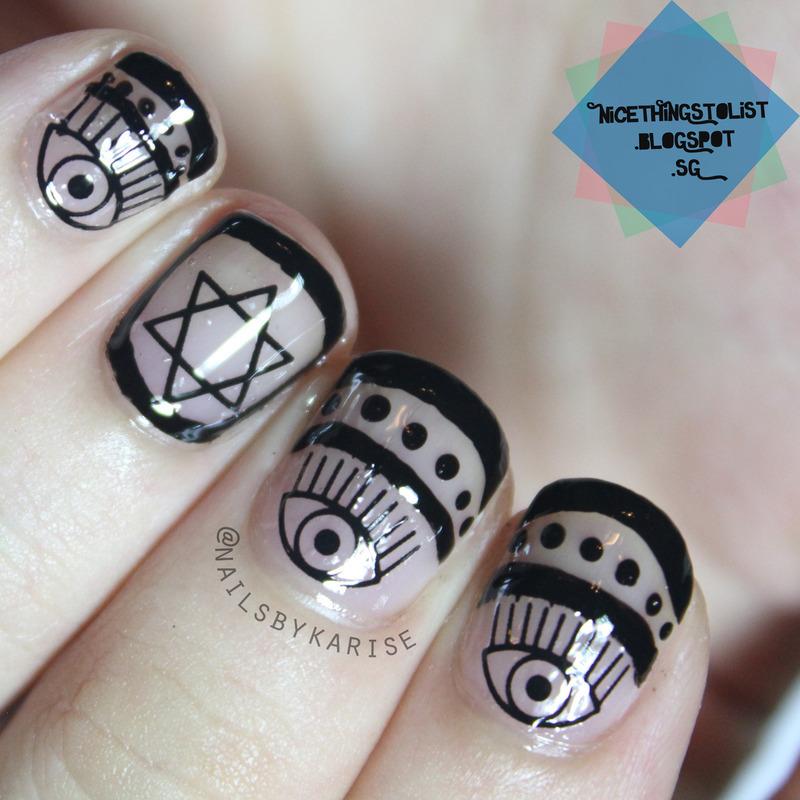 Starry Eyes Black Negative Space  nail art by Karise Tan