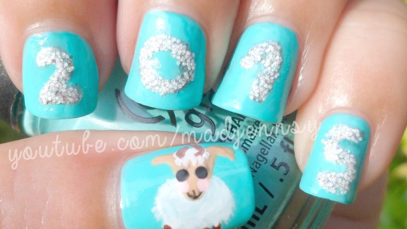 New Year 2015 The Year of the Sheep Nail Art  nail art by madjennsy Nail Art