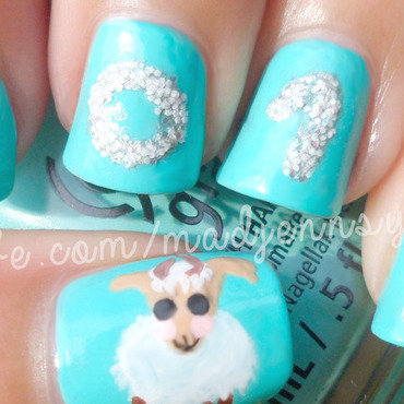 New Year 2015 The Year of the Sheep Nail Art  nail art by madjennsy Nail Art