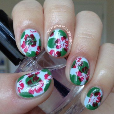 Pond 20manicure 20with 20lily 20pads 20and 20floral 20stamping 20nail 20art thumb370f