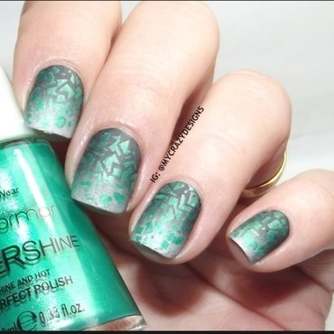 Gradient & stamping nail art by Mycrazydesigns