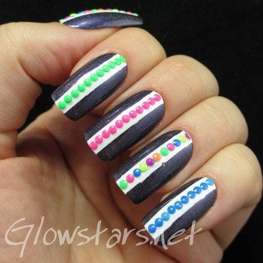 Holo with neon stud stripes nail art by Vic 'Glowstars' Pires