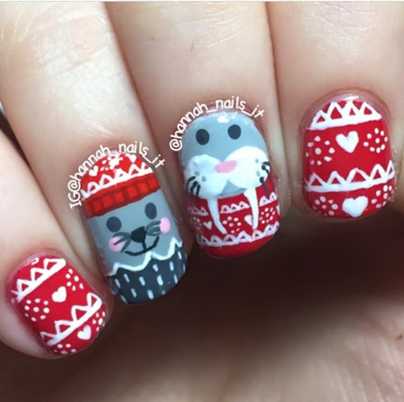 Winter woolies nail art by Hannah