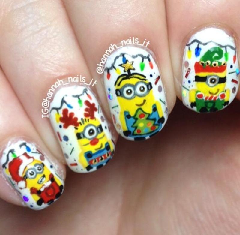 Merry Minions nail art by Hannah