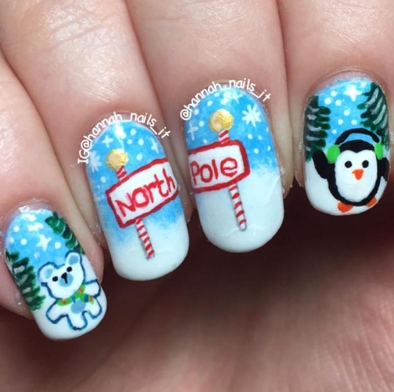 North Pole Nails nail art by Hannah