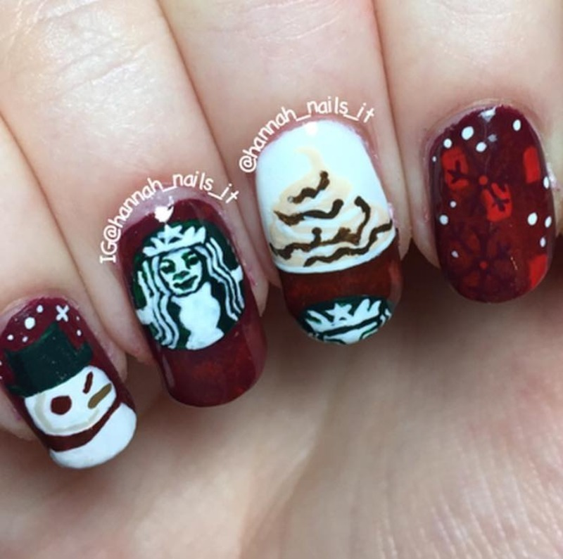 Starbucks nail art by Hannah