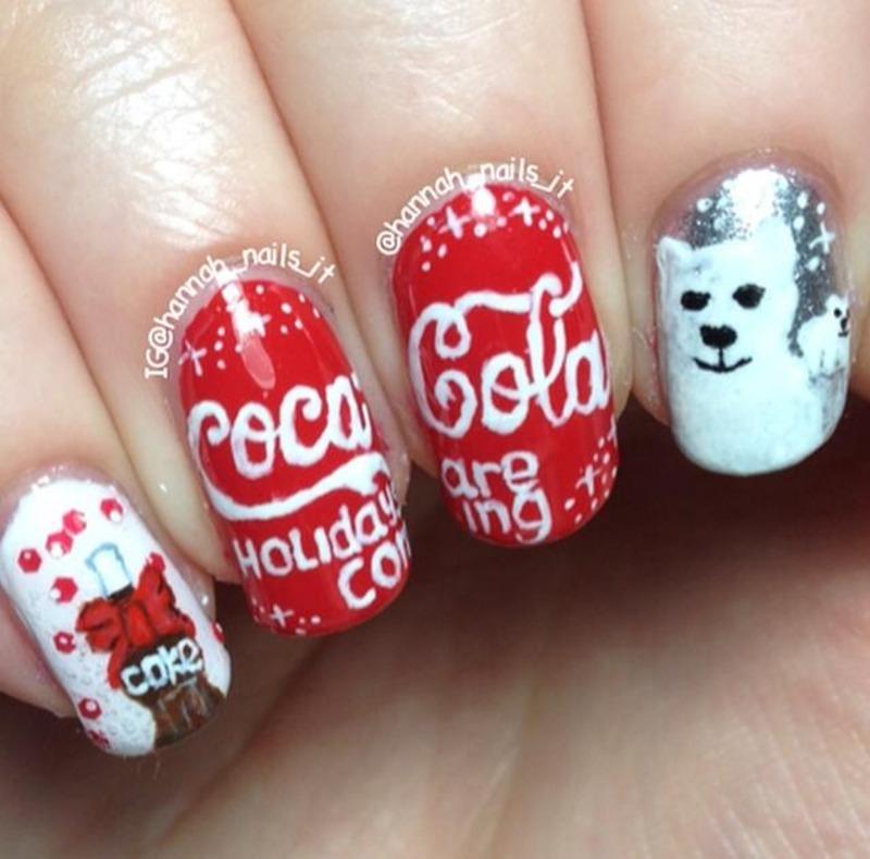 Coke Christmas nail art by Hannah