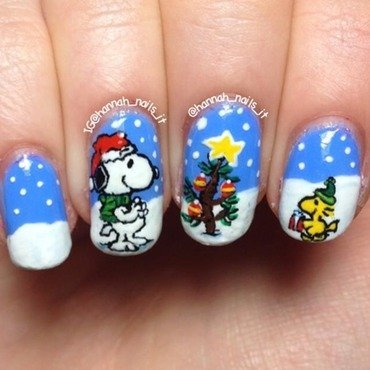 Snoopy and Woodstock nail art by Hannah