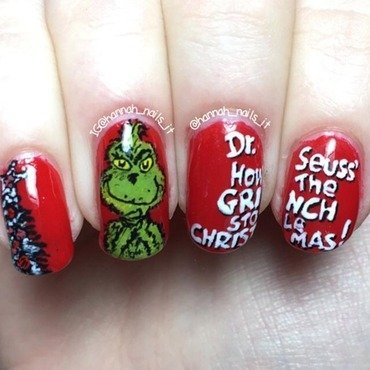You're a mean one, Mr Grinch nail art by Hannah