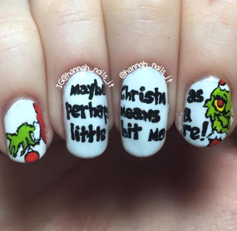 The Grinch nail art by Hannah