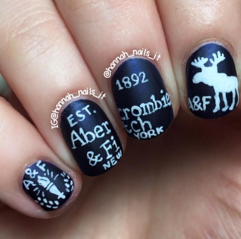 Abercrombie and Fitch nail art by Hannah