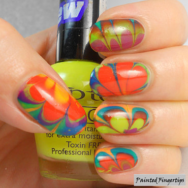 Neon water marble nail art by Kerry_Fingertips
