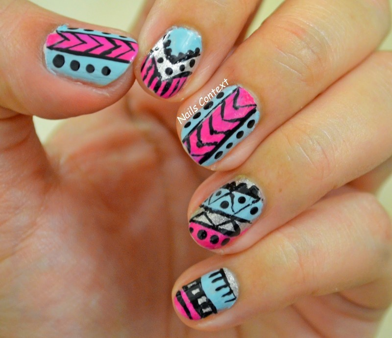 Tribal Print Nail Art nail art by NailsContext