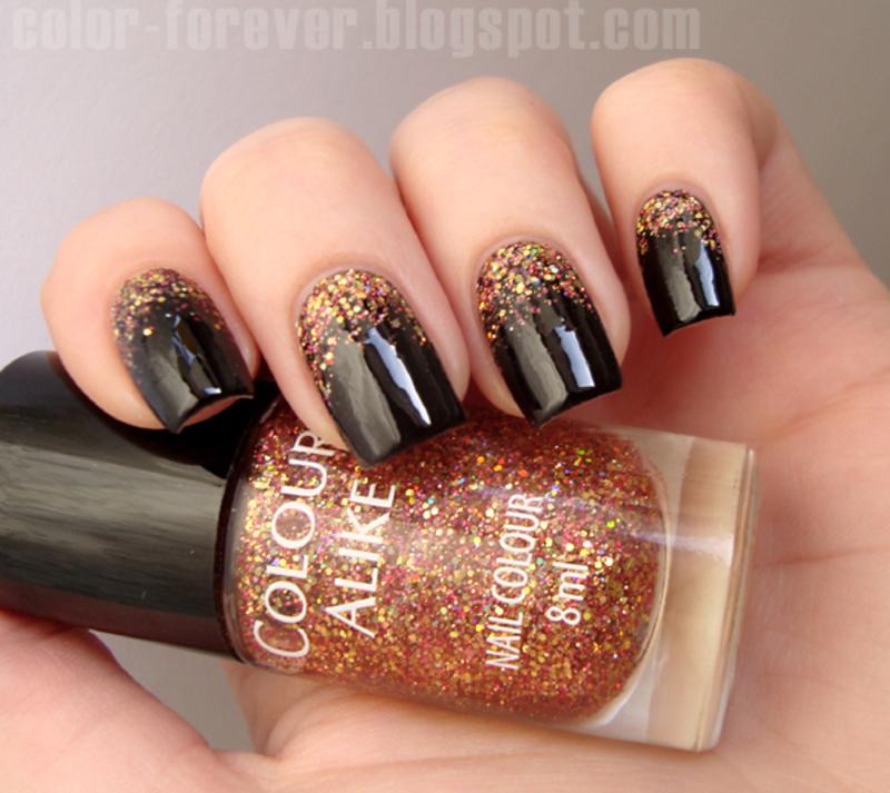Falling glitter nail art nail art by ania