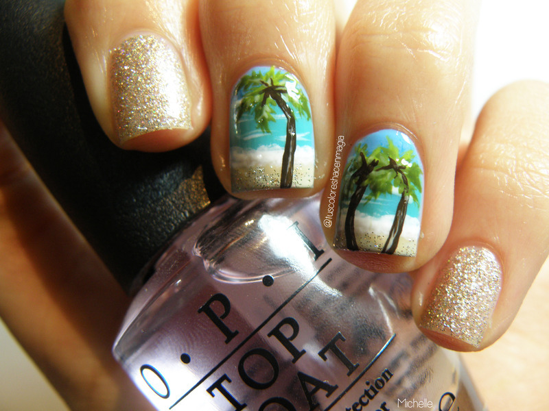 Beach and palm trees! nail art by Michelle Mullett