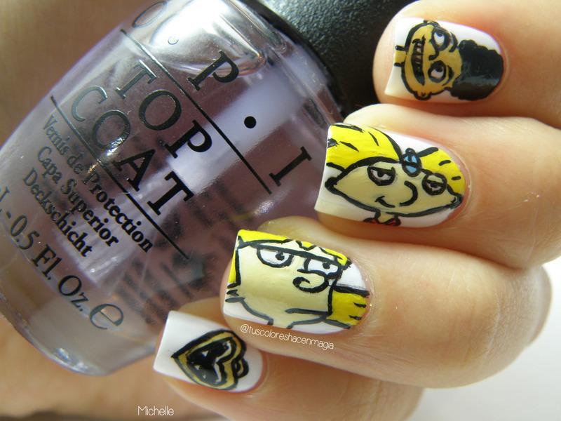 Hey Arnold! nail art by Michelle Mullett
