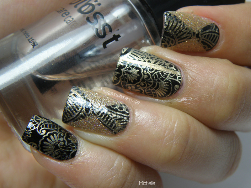 Elegant stamping nail art by Michelle Mullett