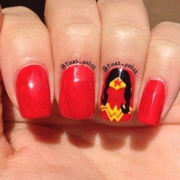 Wonder Woman nail art  nail art by Christina