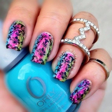 Rainbow Damask nail art by Debbie