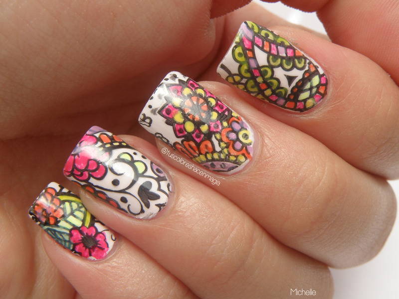 Colorful stamping nail art by Michelle Mullett