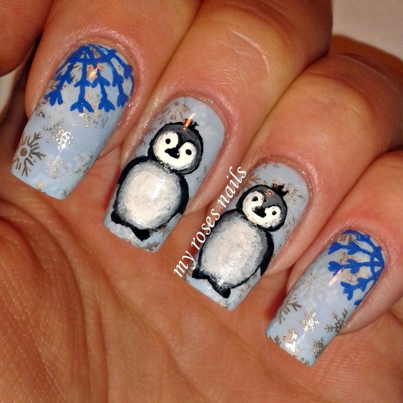 Penguins nail art by Ewa