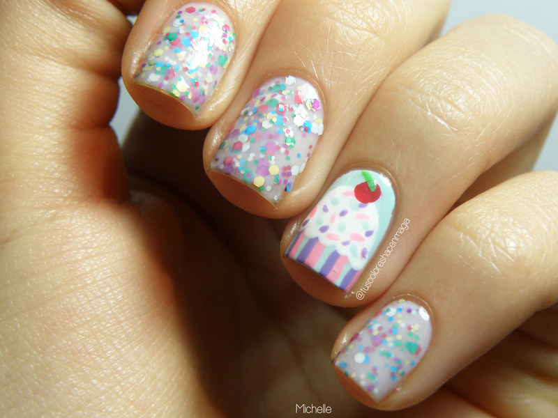 Cute nails with a cupcake nail art by Michelle Mullett