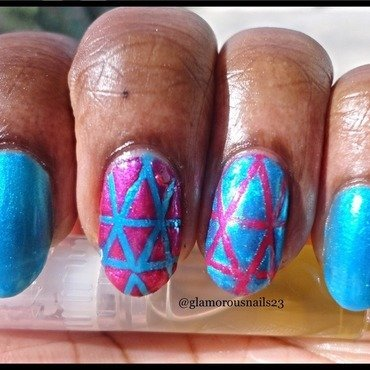 Funky Striping Tape Mani  nail art by glamorousnails23