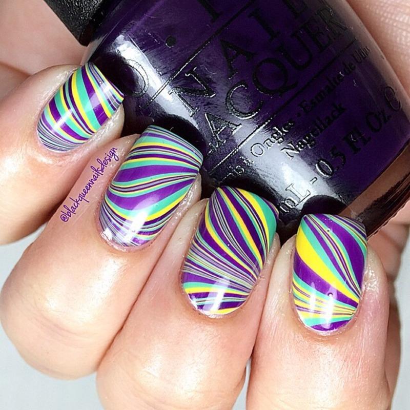Cool Watermarble  nail art by Blackqueennailsdesign