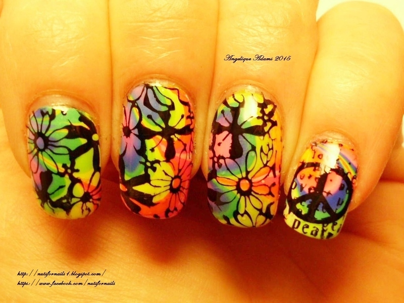 Groovy Rainbow Water Marble nail art by Angelique Adams