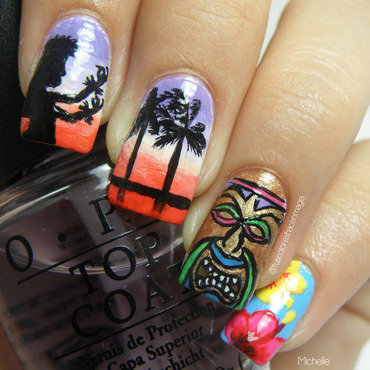 Inspired by Hawaii nail art by Michelle Mullett