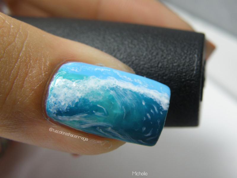 The hawaiian wave nail art by Michelle Mullett
