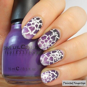 Freehand floral over a gradient nail art by Kerry_Fingertips