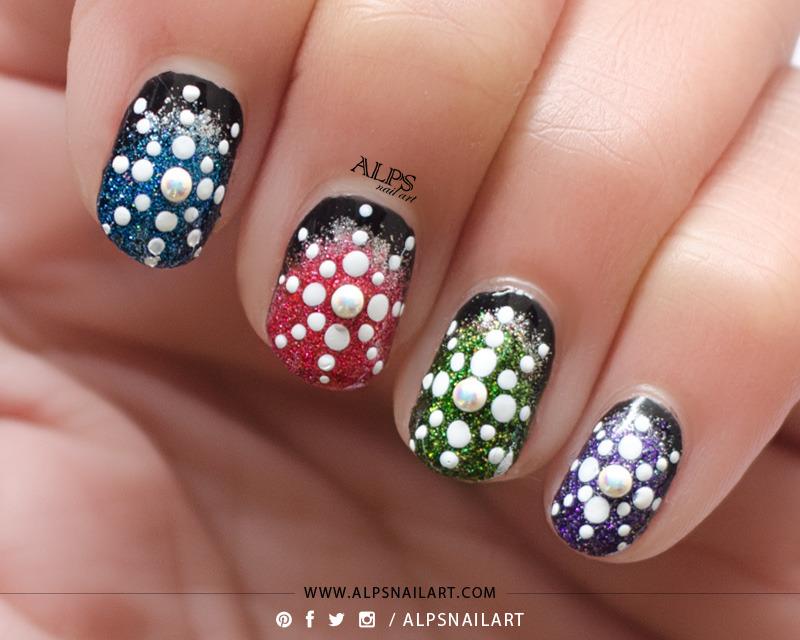 Startbust Dotticure Tutorial by @alpsnailart nail art by Alpsnailart