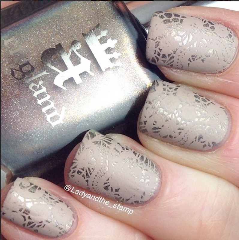 Stunning Lace Stamping Nails nail art by Born Pretty