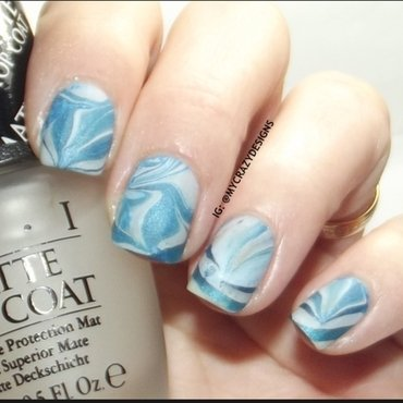 Blue water marble nail art by Mycrazydesigns
